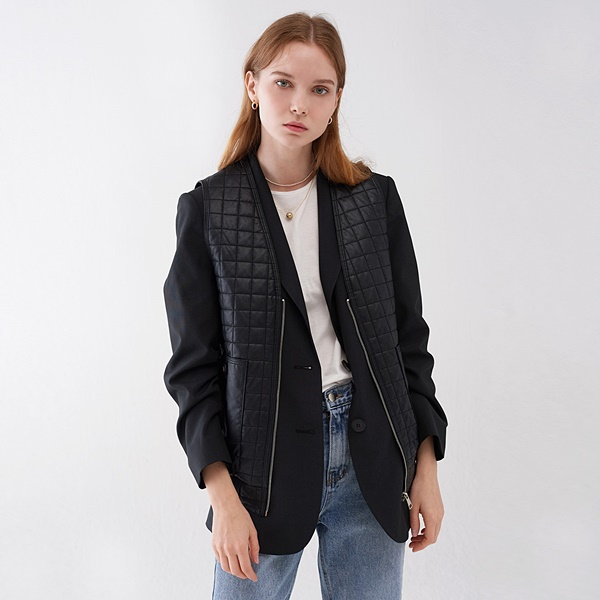 ECO LEATHER QUILTING ZIP UP VEST BLACK 에코 레더 퀼팅 집업 베스트 블랙