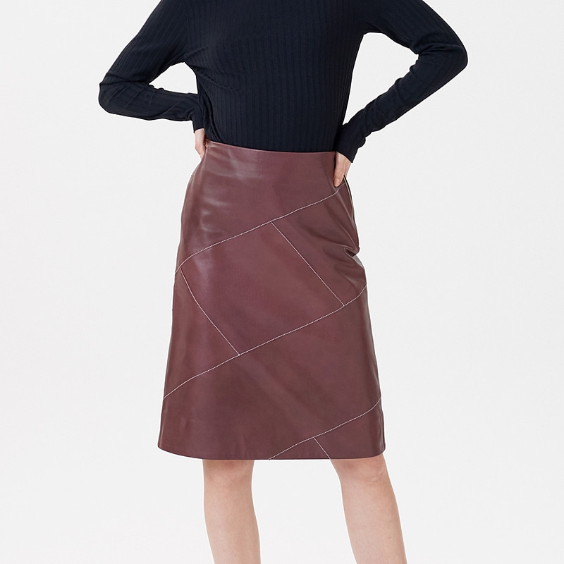 절개 레더 스커트 와인LINE CUTTING LEATHER SKIRTS WINE