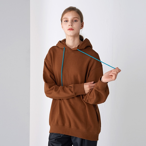 코쿤 후드 티셔츠 브라운 COCOON HOOD T-SHIRTS BROWN PINBLACK