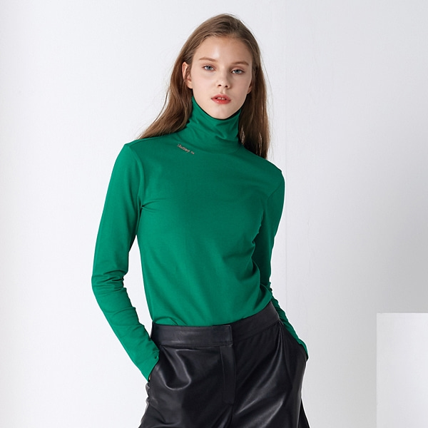 베이직 레터링 터틀넥 그린 BASIC LETTERING TURTLE-NECK GREEN PINBLACK